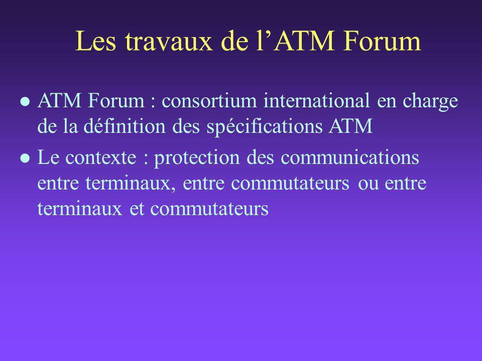 Les travaux de l'ATM Forum l ATM Forum : consortium international en charge de la définition des spécifications ATM l Le contexte : protection des communications entre terminaux, entre commutateurs ou entre terminaux et commutateurs
