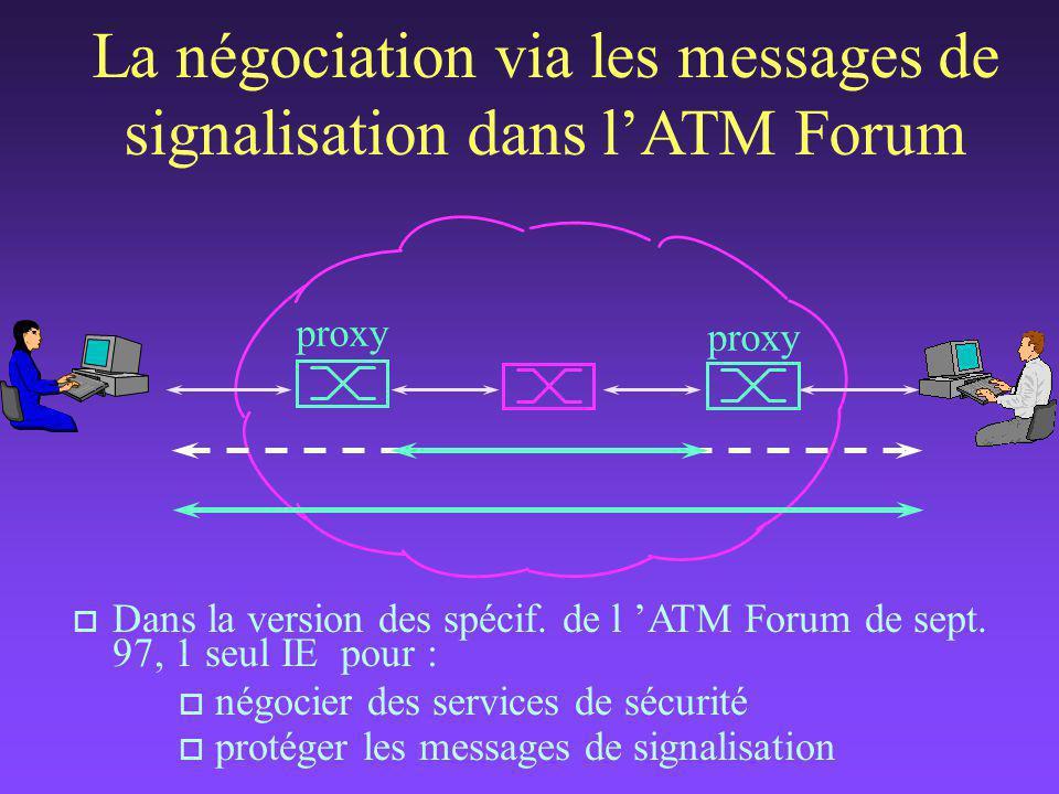 o Dans la version des spécif.de l 'ATM Forum de sept.