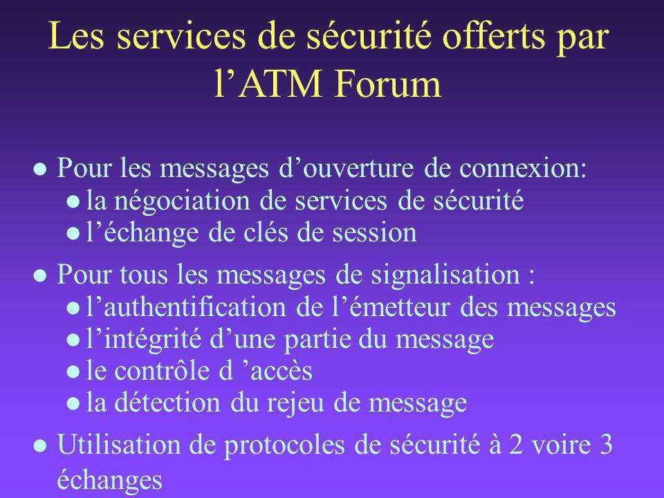 Les services de sécurité offerts par l'ATM Forum l Pour les messages d'ouverture de connexion: l la négociation de services de sécurité l l'échange de clés de session l Pour tous les messages de signalisation : l l'authentification de l'émetteur des messages l l'intégrité d'une partie du message l le contrôle d 'accès l la détection du rejeu de message l Utilisation de protocoles de sécurité à 2 voire 3 échanges