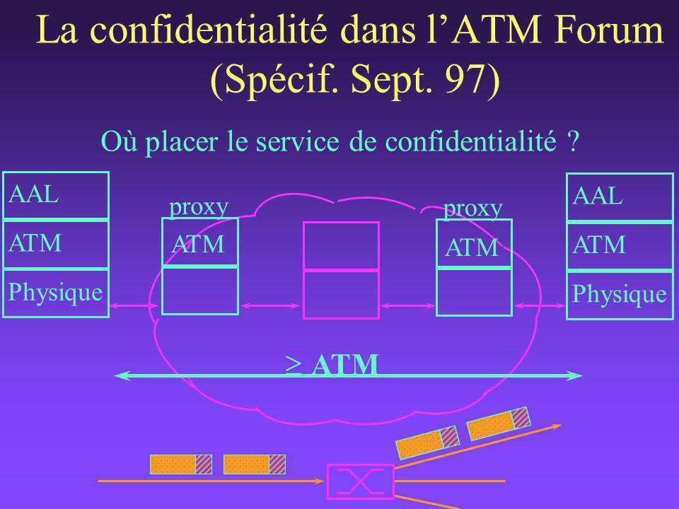 proxy Où placer le service de confidentialité . La confidentialité dans l'ATM Forum (Spécif.