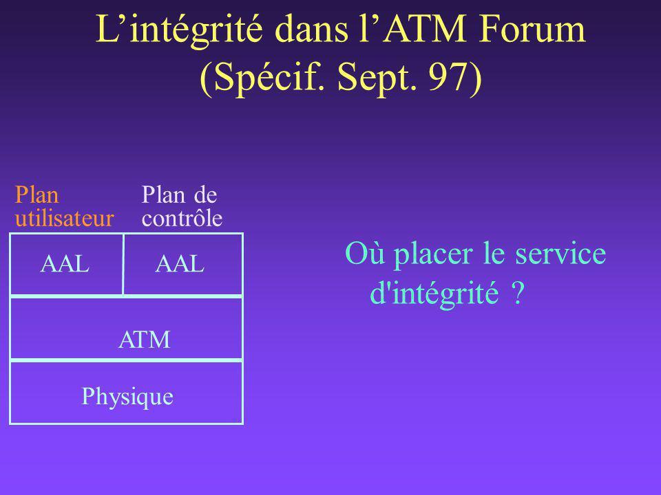 Où placer le service d intégrité . L'intégrité dans l'ATM Forum (Spécif.