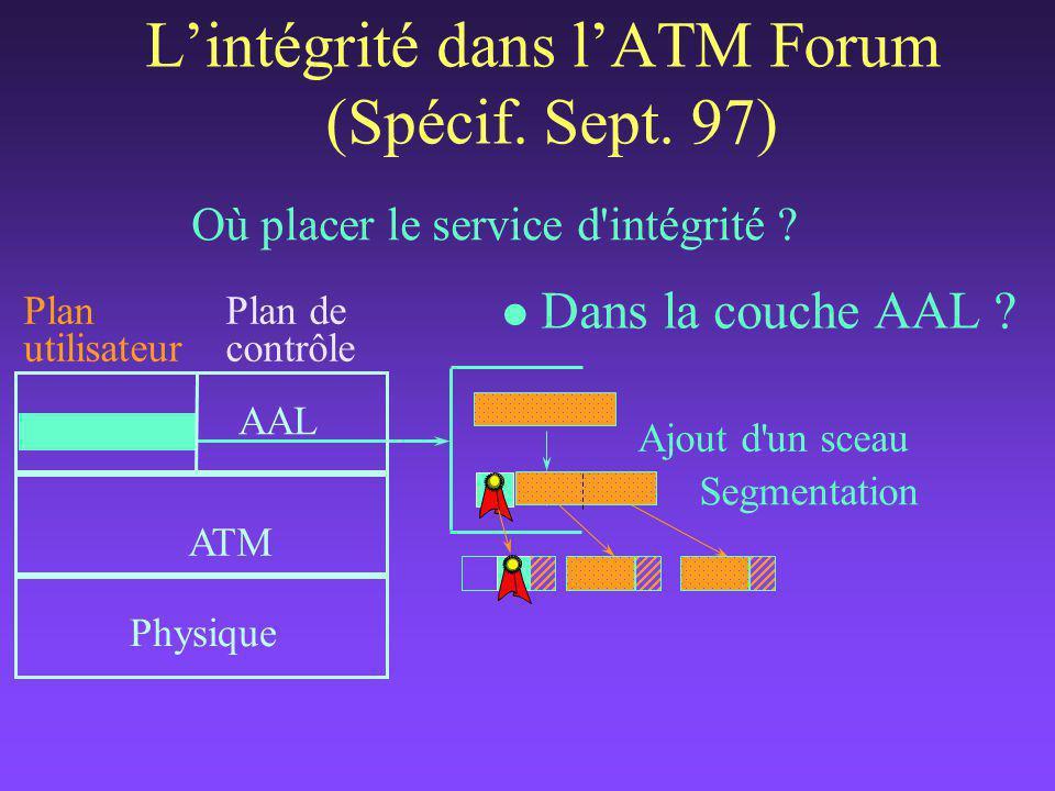 L'intégrité dans l'ATM Forum (Spécif.Sept. 97) Où placer le service d intégrité .