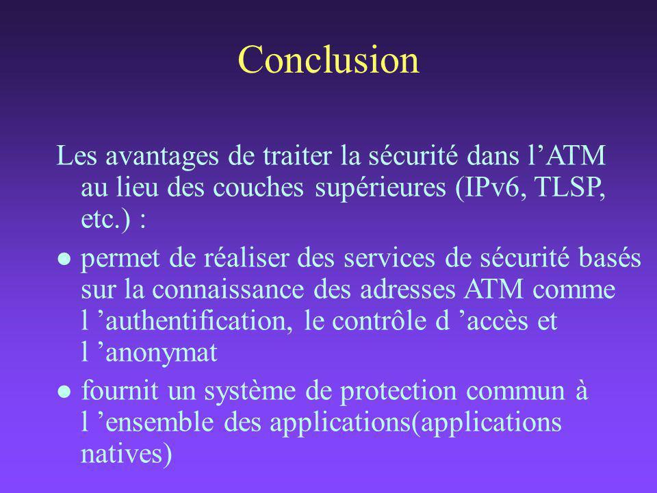 Les avantages de traiter la sécurité dans l'ATM au lieu des couches supérieures (IPv6, TLSP, etc.) : l permet de réaliser des services de sécurité basés sur la connaissance des adresses ATM comme l 'authentification, le contrôle d 'accès et l 'anonymat l fournit un système de protection commun à l 'ensemble des applications(applications natives) Conclusion