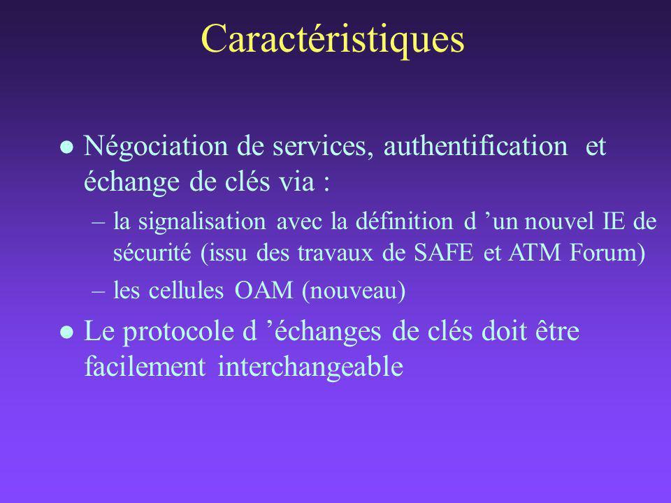 Caractéristiques l Négociation de services, authentification et échange de clés via : –la signalisation avec la définition d 'un nouvel IE de sécurité (issu des travaux de SAFE et ATM Forum) –les cellules OAM (nouveau) l Le protocole d 'échanges de clés doit être facilement interchangeable