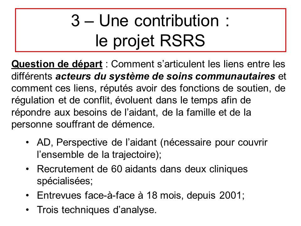 3 – Une contribution : le projet RSRS AD, Perspective de l'aidant (nécessaire pour couvrir l'ensemble de la trajectoire); Recrutement de 60 aidants da