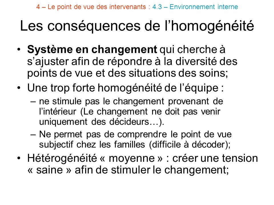 Les conséquences de l'homogénéité Système en changement qui cherche à s'ajuster afin de répondre à la diversité des points de vue et des situations de