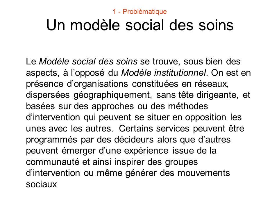 Un modèle social des soins Le Modèle social des soins se trouve, sous bien des aspects, à l'opposé du Modèle institutionnel. On est en présence d'orga
