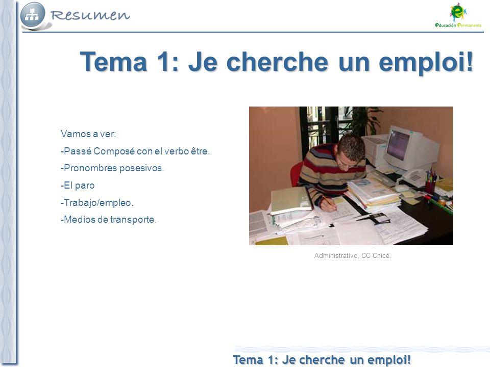 Tema 1: Je cherche un emploi. V Vamos a ver: -Passé Composé con el verbo être.