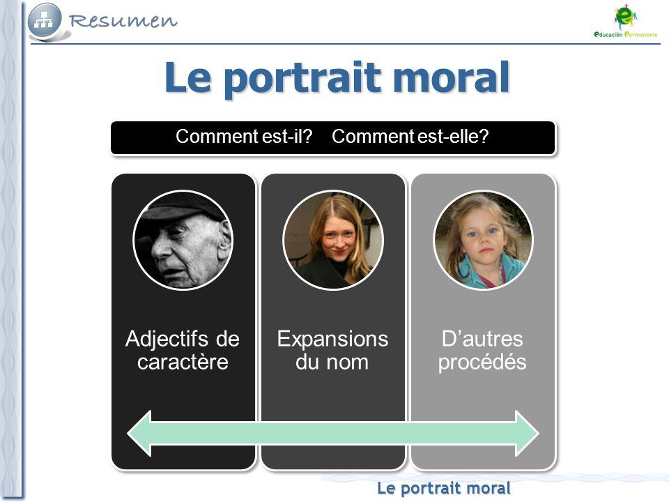 Le portrait moral Il est travailleur et discret.Elle est sincère et très naturelle.
