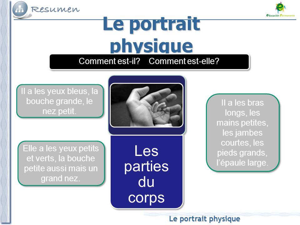 Le portrait physique Les parties du corps Il a les yeux bleus, la bouche grande, le nez petit. Il a les bras longs, les mains petites, les jambes cour