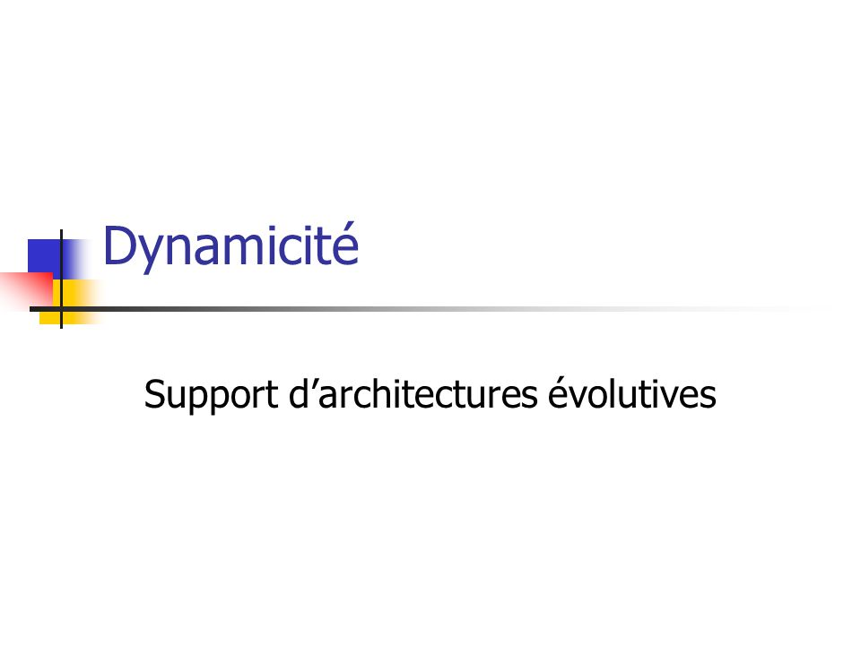 Dynamicité Support d'architectures évolutives