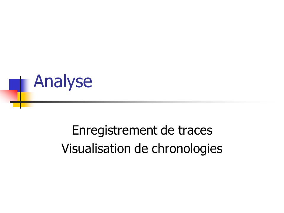 Analyse Enregistrement de traces Visualisation de chronologies