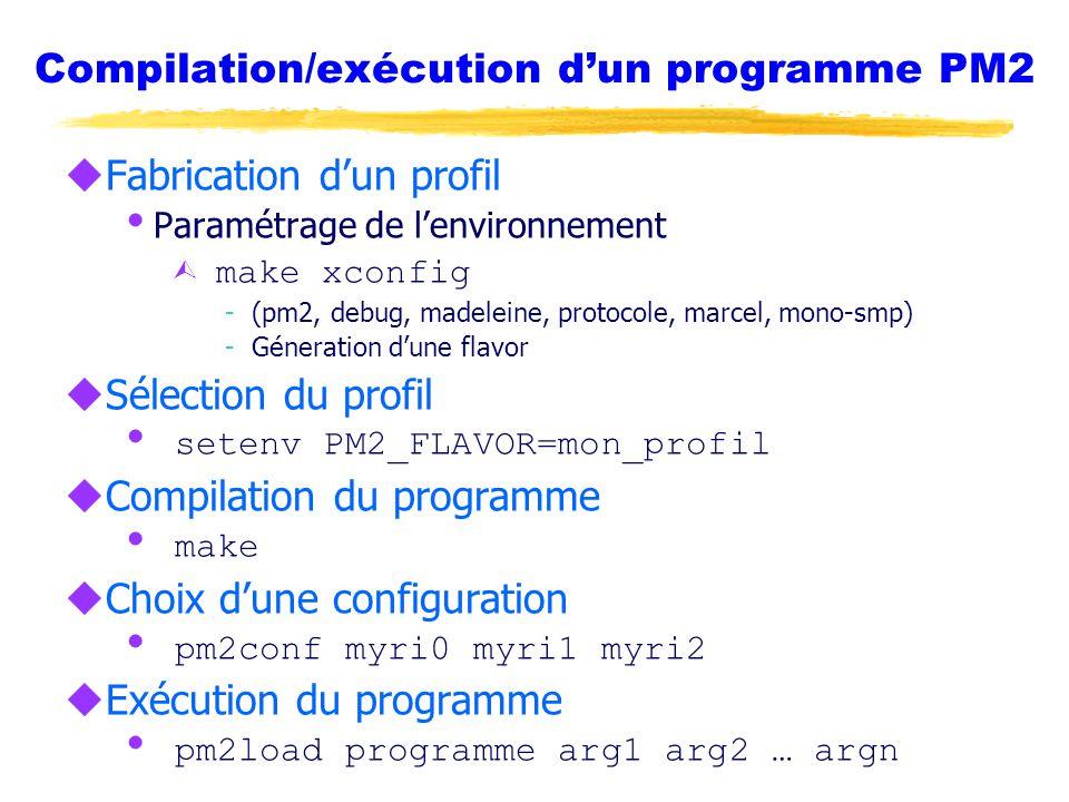 Compilation/exécution d'un programme PM2 uFabrication d'un profil  Paramétrage de l'environnement Ù make xconfig -(pm2, debug, madeleine, protocole, marcel, mono-smp) -Géneration d'une flavor uSélection du profil  setenv PM2_FLAVOR=mon_profil uCompilation du programme  make uChoix d'une configuration  pm2conf myri0 myri1 myri2 uExécution du programme  pm2load programme arg1 arg2 … argn