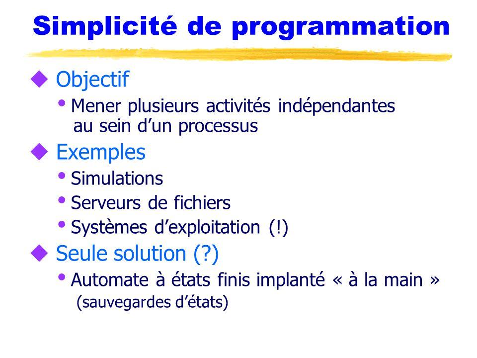 Simplicité de programmation u Objectif  Mener plusieurs activités indépendantes au sein d'un processus u Exemples  Simulations  Serveurs de fichiers  Systèmes d'exploitation (!) u Seule solution (?)  Automate à états finis implanté « à la main » (sauvegardes d'états)