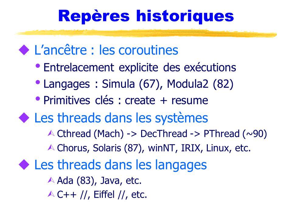 Repères historiques u L'ancêtre : les coroutines  Entrelacement explicite des exécutions  Langages : Simula (67), Modula2 (82)  Primitives clés : create + resume u Les threads dans les systèmes Ù Cthread (Mach) -> DecThread -> PThread (~90) Ù Chorus, Solaris (87), winNT, IRIX, Linux, etc.
