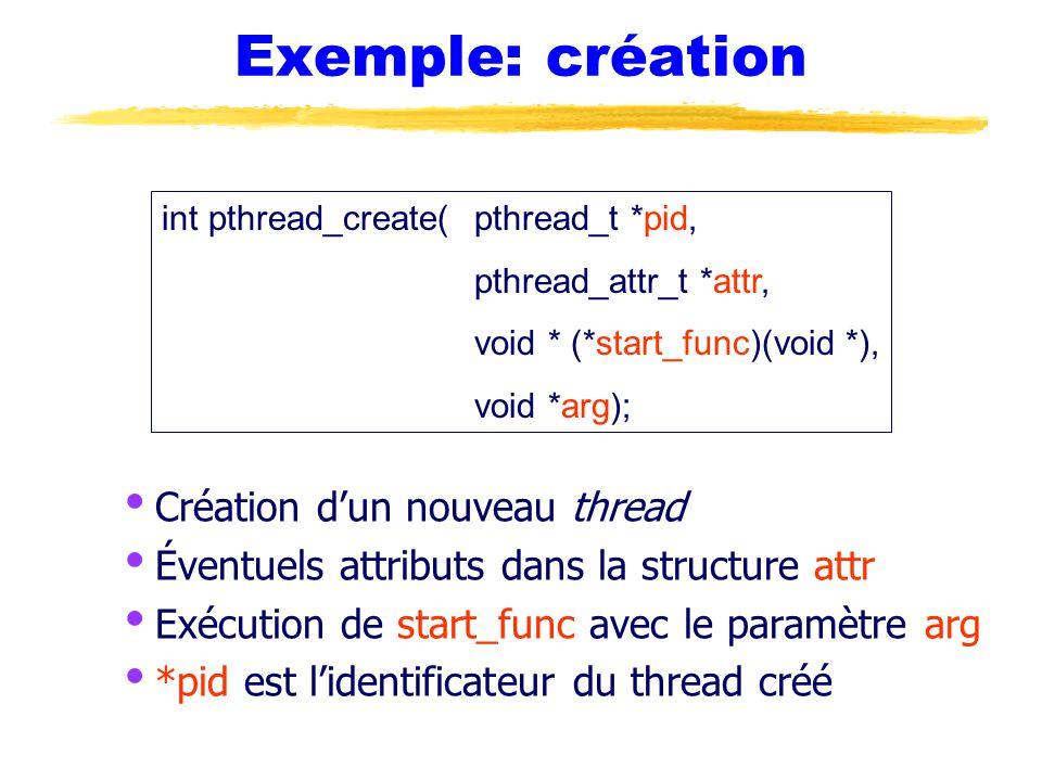 Exemple: création  Création d'un nouveau thread  Éventuels attributs dans la structure attr  Exécution de start_func avec le paramètre arg  *pid est l'identificateur du thread créé int pthread_create(pthread_t *pid, pthread_attr_t *attr, void * (*start_func)(void *), void *arg);