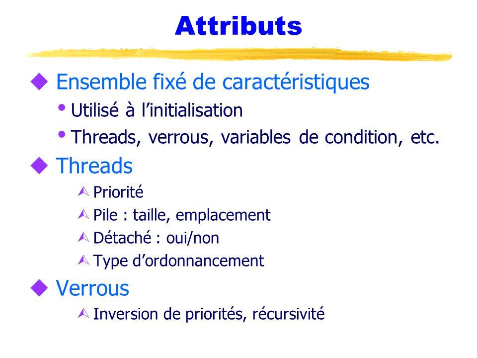 Attributs u Ensemble fixé de caractéristiques  Utilisé à l'initialisation  Threads, verrous, variables de condition, etc.