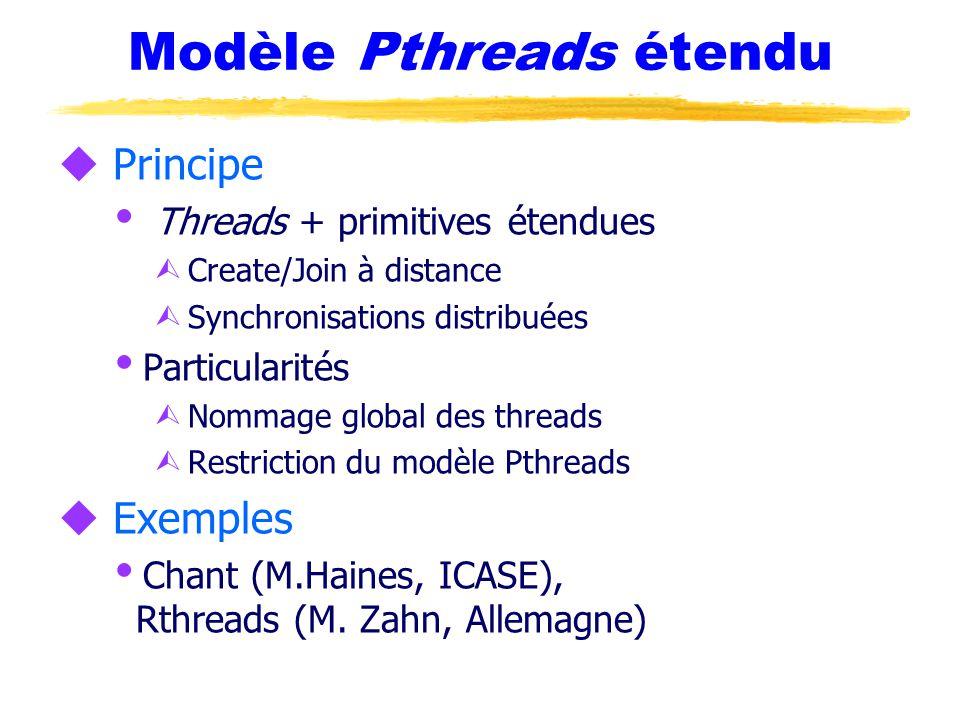 Modèle Pthreads étendu u Principe  Threads + primitives étendues Ù Create/Join à distance Ù Synchronisations distribuées  Particularités Ù Nommage global des threads Ù Restriction du modèle Pthreads u Exemples  Chant (M.Haines, ICASE), Rthreads (M.