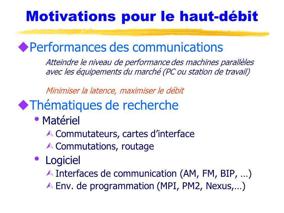 Motivations pour le haut-débit uPerformances des communications Atteindre le niveau de performance des machines parallèles avec les équipements du marché (PC ou station de travail) Minimiser la latence, maximiser le débit uThématiques de recherche  Matériel Ù Commutateurs, cartes d'interface Ù Commutations, routage  Logiciel Ù Interfaces de communication (AM, FM, BIP, …) Ù Env.