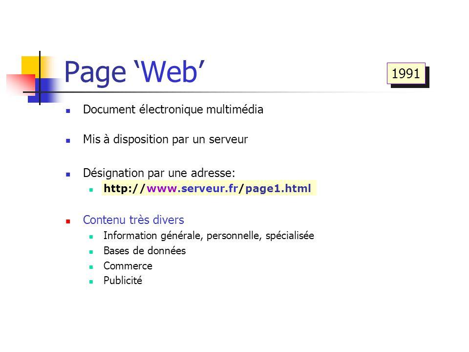 Page 'Web' Document électronique multimédia Mis à disposition par un serveur Désignation par une adresse: http://www.serveur.fr/page1.html Contenu trè