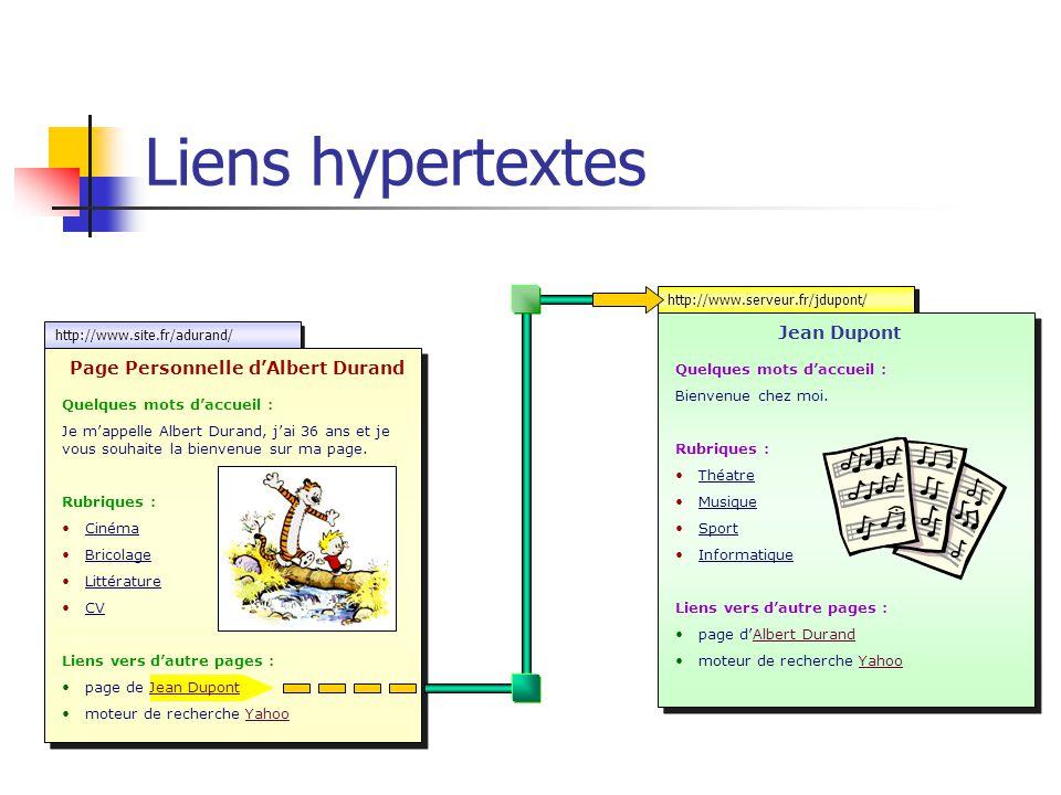 http://www.site.fr/adurand/ http://www.serveur.fr/jdupont/ Liens hypertextes Page Personnelle d'Albert Durand Quelques mots d'accueil : Je m'appelle A