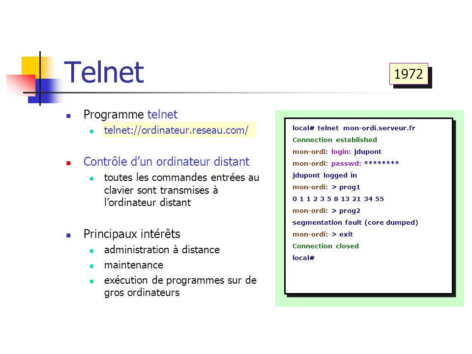 Telnet local# telnet mon-ordi.serveur.fr Connection established mon-ordi: login: jdupont mon-ordi: passwd: ******** jdupont logged in mon-ordi: > prog