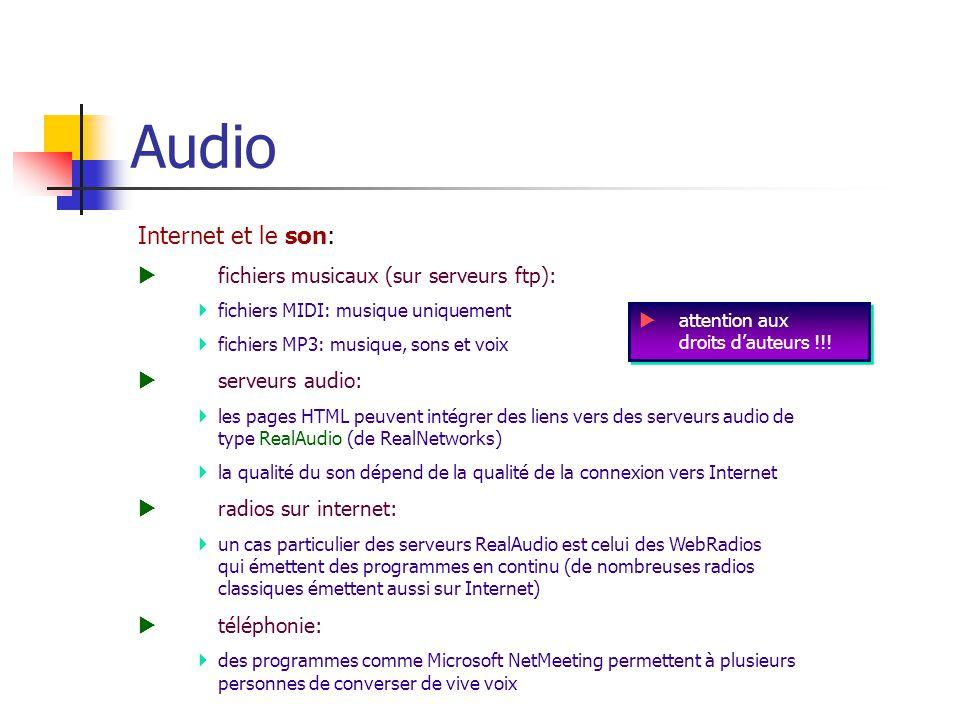 Audio Internet et le son:  fichiers musicaux (sur serveurs ftp):  fichiers MIDI: musique uniquement  fichiers MP3: musique, sons et voix  serveurs