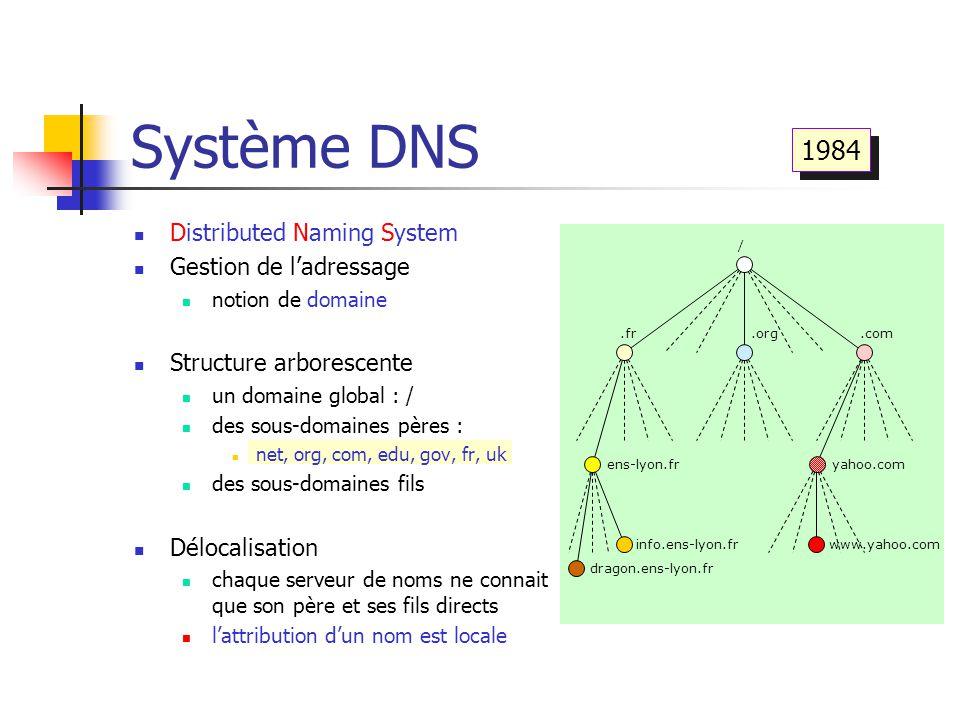 Système DNS Distributed Naming System Gestion de l'adressage notion de domaine Structure arborescente un domaine global : / des sous-domaines pères :
