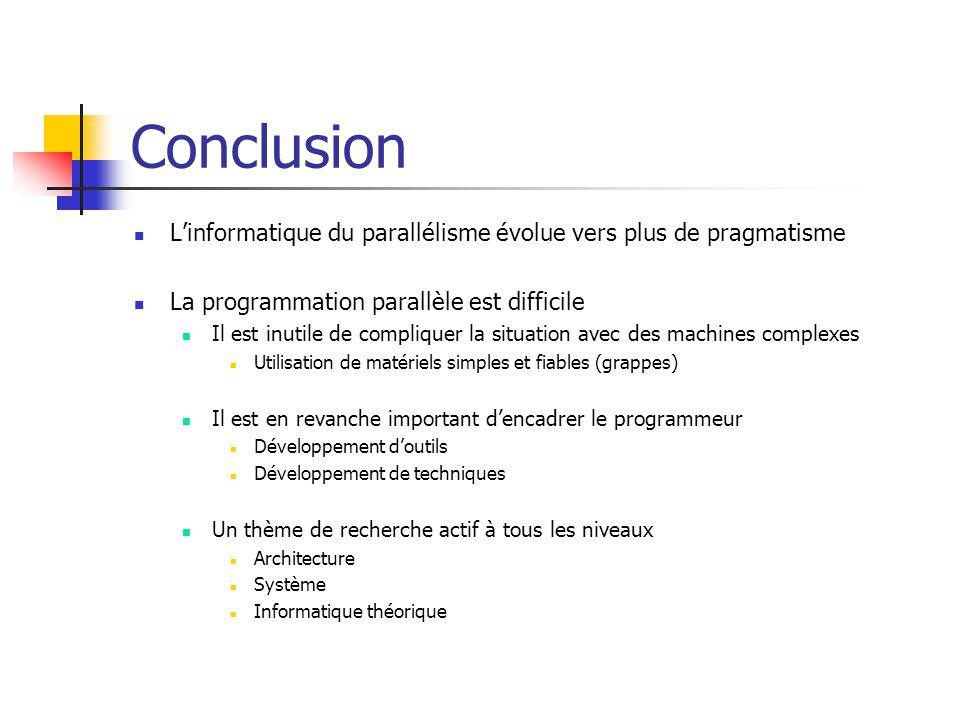 Conclusion L'informatique du parallélisme évolue vers plus de pragmatisme La programmation parallèle est difficile Il est inutile de compliquer la sit
