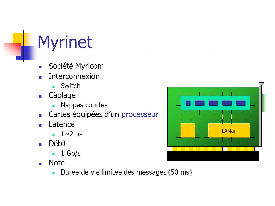 Myrinet Société Myricom Interconnexion Switch Câblage Nappes courtes Cartes équipées d'un processeur Latence 1~2 µs Débit 1 Gb/s Note Durée de vie lim