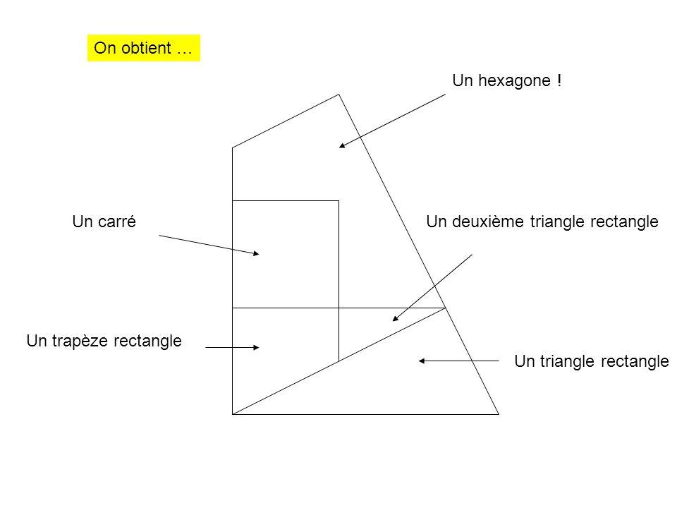 Un carré Un triangle rectangle Un deuxième triangle rectangle Un trapèze rectangle Un hexagone ! On obtient …