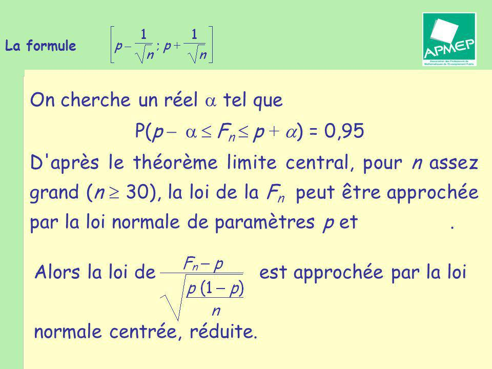Brigitte CHAPUT - Journée de la Régionale APMEP de Toulouse - 19 janvier 2011 La formule Alors la loi de est approchée par la loi normale centrée, réduite.