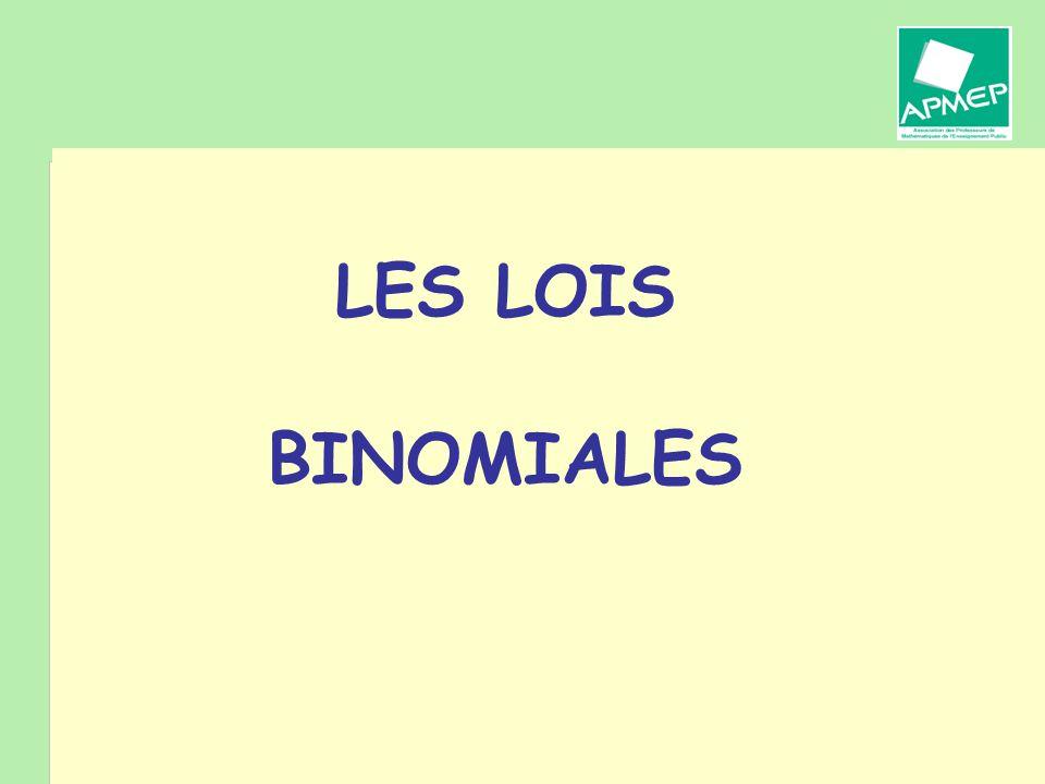 Brigitte CHAPUT - Journée de la Régionale APMEP de Toulouse - 19 janvier 2011 Les lois binomiales n est un entier naturel non nul et p un réel de ]0, 1[.