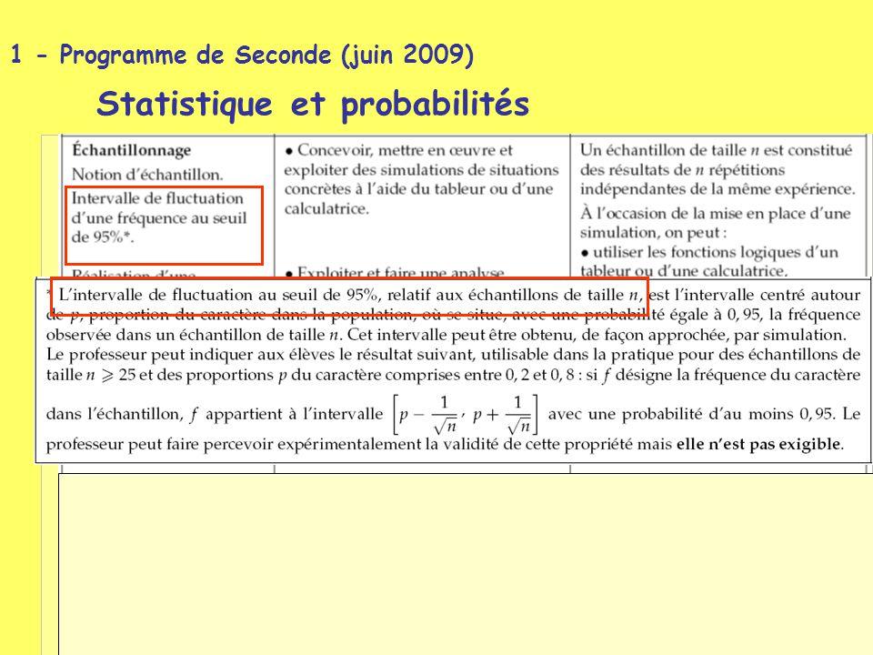 1 - Programme de Seconde (juin 2009) Statistique et probabilités Statistique et probabilités