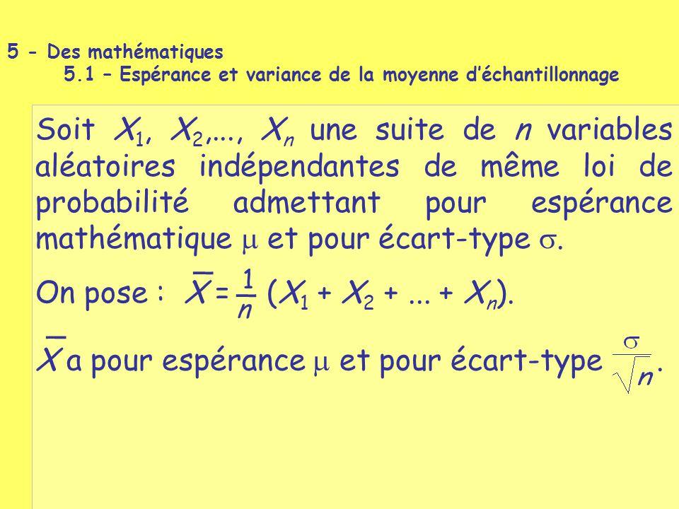 Soit X 1, X 2,..., X n une suite de n variables aléatoires indépendantes de même loi de probabilité admettant pour espérance mathématique  et pour éc