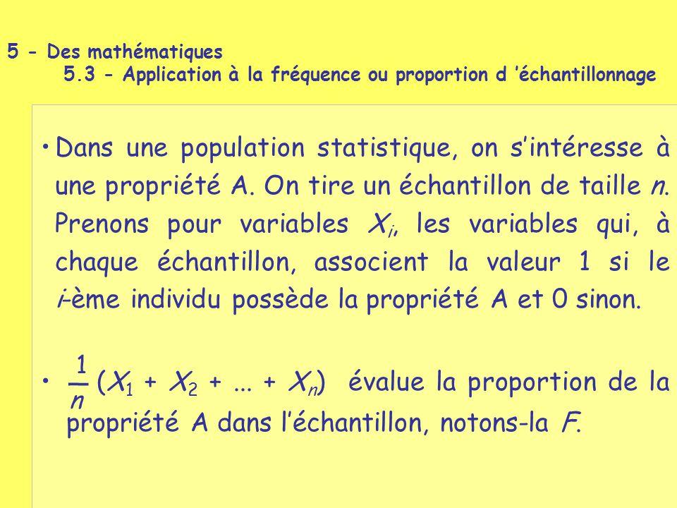 (X 1 + X 2 +... + X n ) évalue la proportion de la propriété A dans l'échantillon, notons-la F. Dans une population statistique, on s'intéresse à une
