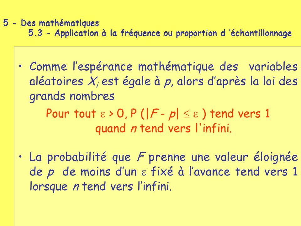 Comme l'espérance mathématique des variables aléatoires X i est égale à p, alors d'après la loi des grands nombres Pour tout  > 0, P (|F - p|   ) t