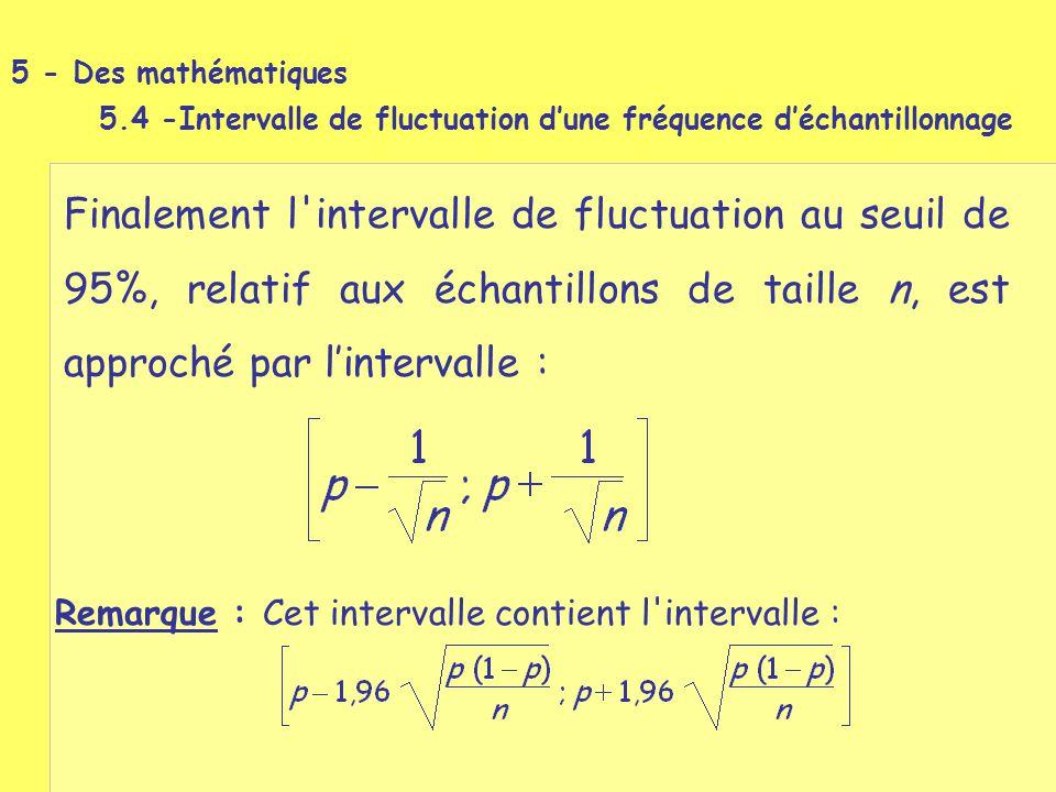 Finalement l'intervalle de fluctuation au seuil de 95%, relatif aux échantillons de taille n, est approché par l'intervalle : Remarque : Cet intervall