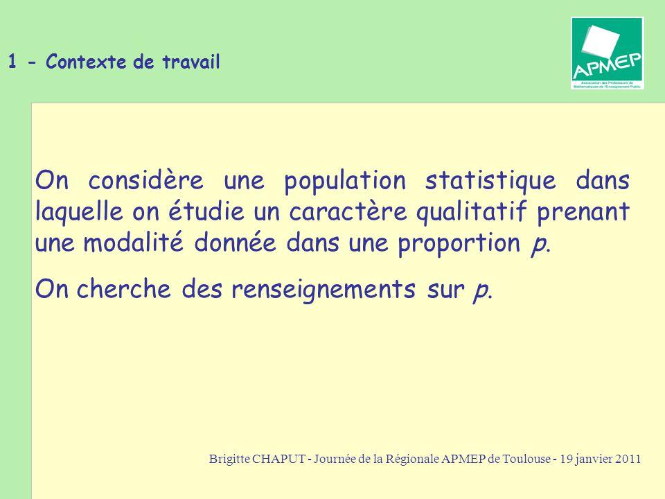 Brigitte CHAPUT - Journée de la Régionale APMEP de Toulouse - 19 janvier 2011 1 - Application à la prise de décision Exemple 2 : La distribution des sexes dans un tel échantillon suit la loi binomiale de paramètres 132 et 0,5.