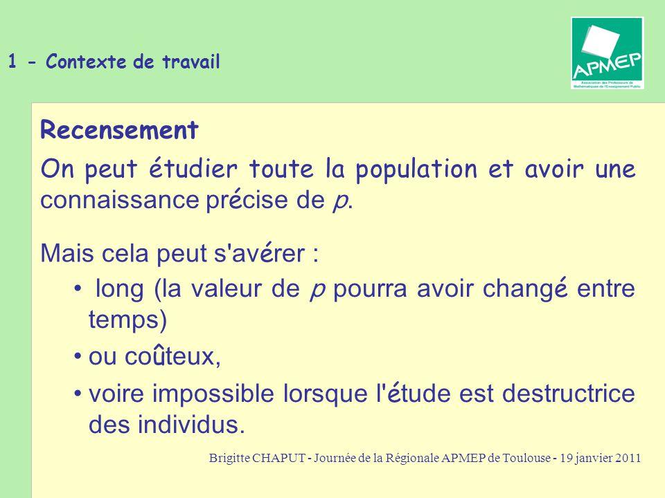 Brigitte CHAPUT - Journée de la Régionale APMEP de Toulouse - 19 janvier 2011 1 - Contexte de travail On détermine la fréquence f de la modalité dans l échantillon, elle induit des résultats sur p avec une certaine marge d erreur cependant.