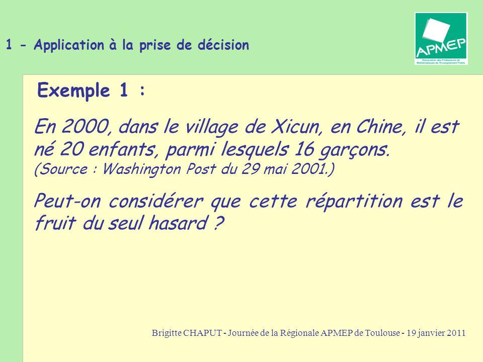 Brigitte CHAPUT - Journée de la Régionale APMEP de Toulouse - 19 janvier 2011 1 - Application à la prise de décision Exemple 1 : En 2000, dans le village de Xicun, en Chine, il est né 20 enfants, parmi lesquels 16 garçons.