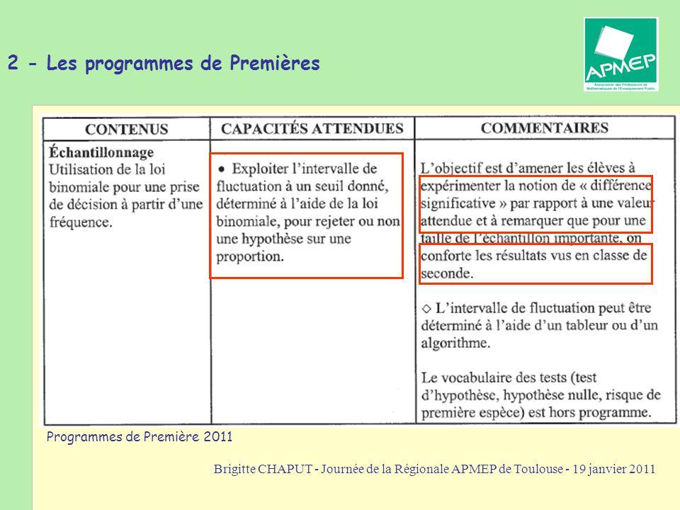Brigitte CHAPUT - Journée de la Régionale APMEP de Toulouse - 19 janvier 2011 Les programmes de premières conduisent à travailler dans le cadre des tests d hypothèse.