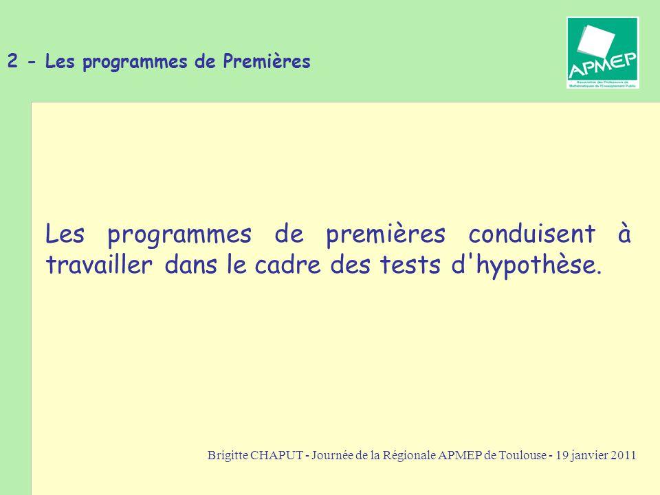 Brigitte CHAPUT - Journée de la Régionale APMEP de Toulouse - 19 janvier 2011 3- Démarche des tests d hypothèse sur une proportion On émet une hypothèse sur la proportion p d un caractère qualitatif dans une population statistique.