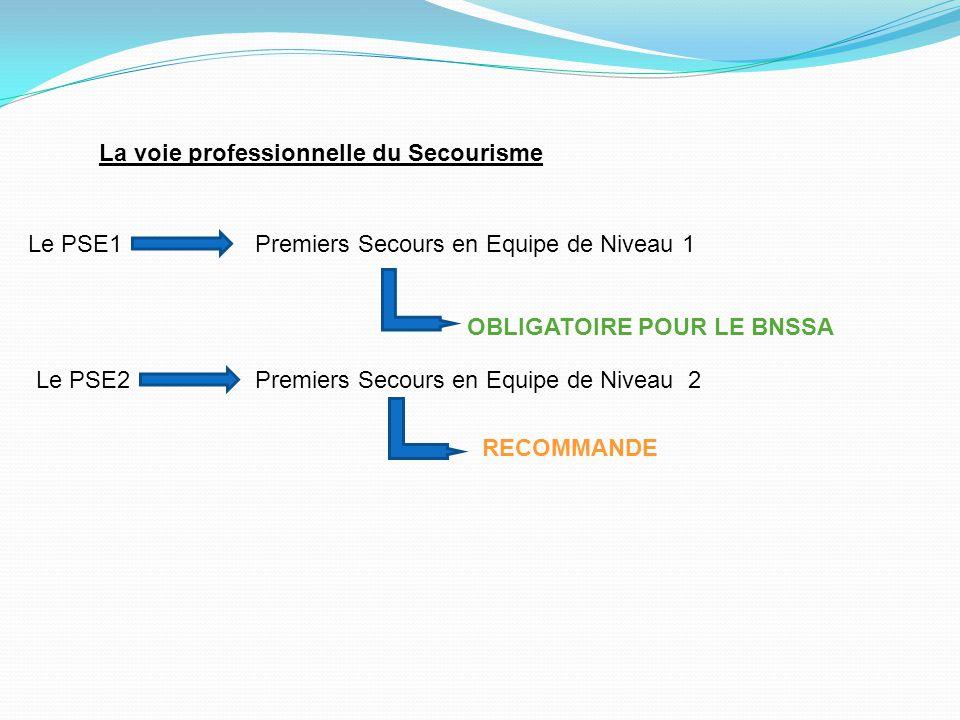 La voie professionnelle du Secourisme Le PSE1Premiers Secours en Equipe de Niveau 1 OBLIGATOIRE POUR LE BNSSA Le PSE2Premiers Secours en Equipe de Niv