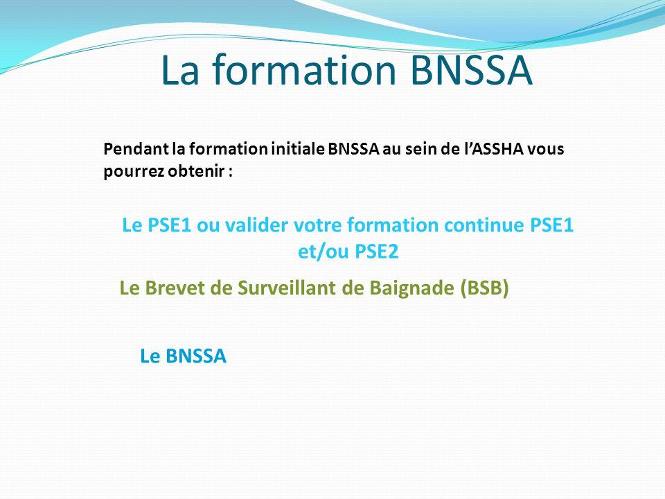 La formation BNSSA Pendant la formation initiale BNSSA au sein de l'ASSHA vous pourrez obtenir : Le PSE1 ou valider votre formation continue PSE1 et/o