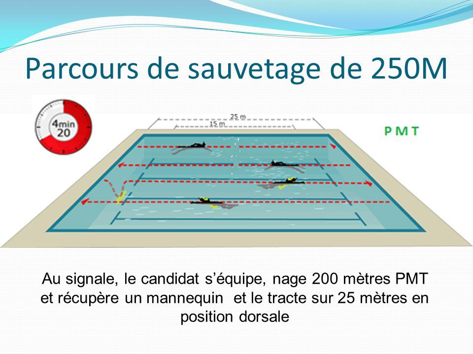 Parcours de sauvetage de 250M Au signale, le candidat s'équipe, nage 200 mètres PMT et récupère un mannequin et le tracte sur 25 mètres en position do