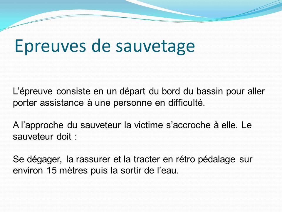 Epreuves de sauvetage L'épreuve consiste en un départ du bord du bassin pour aller porter assistance à une personne en difficulté. A l'approche du sau