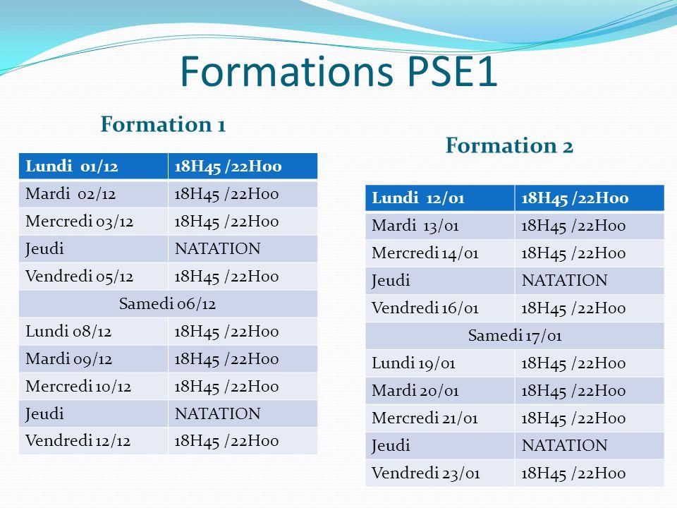 Formations PSE1 Formation 1 Formation 2 Lundi 12/0118H45 /22H00 Mardi 13/0118H45 /22H00 Mercredi 14/0118H45 /22H00 JeudiNATATION Vendredi 16/0118H45 /