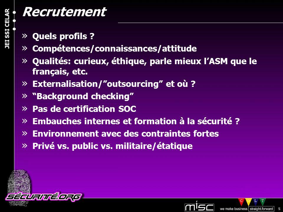 © 2004 Nicolas FISCHBACH JEI SSI CELAR 5 Recrutement » Quels profils .