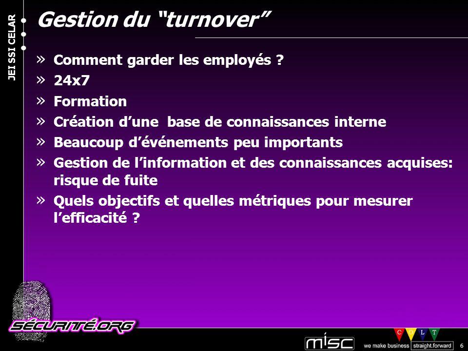 © 2004 Nicolas FISCHBACH JEI SSI CELAR 6 Gestion du turnover » Comment garder les employés .